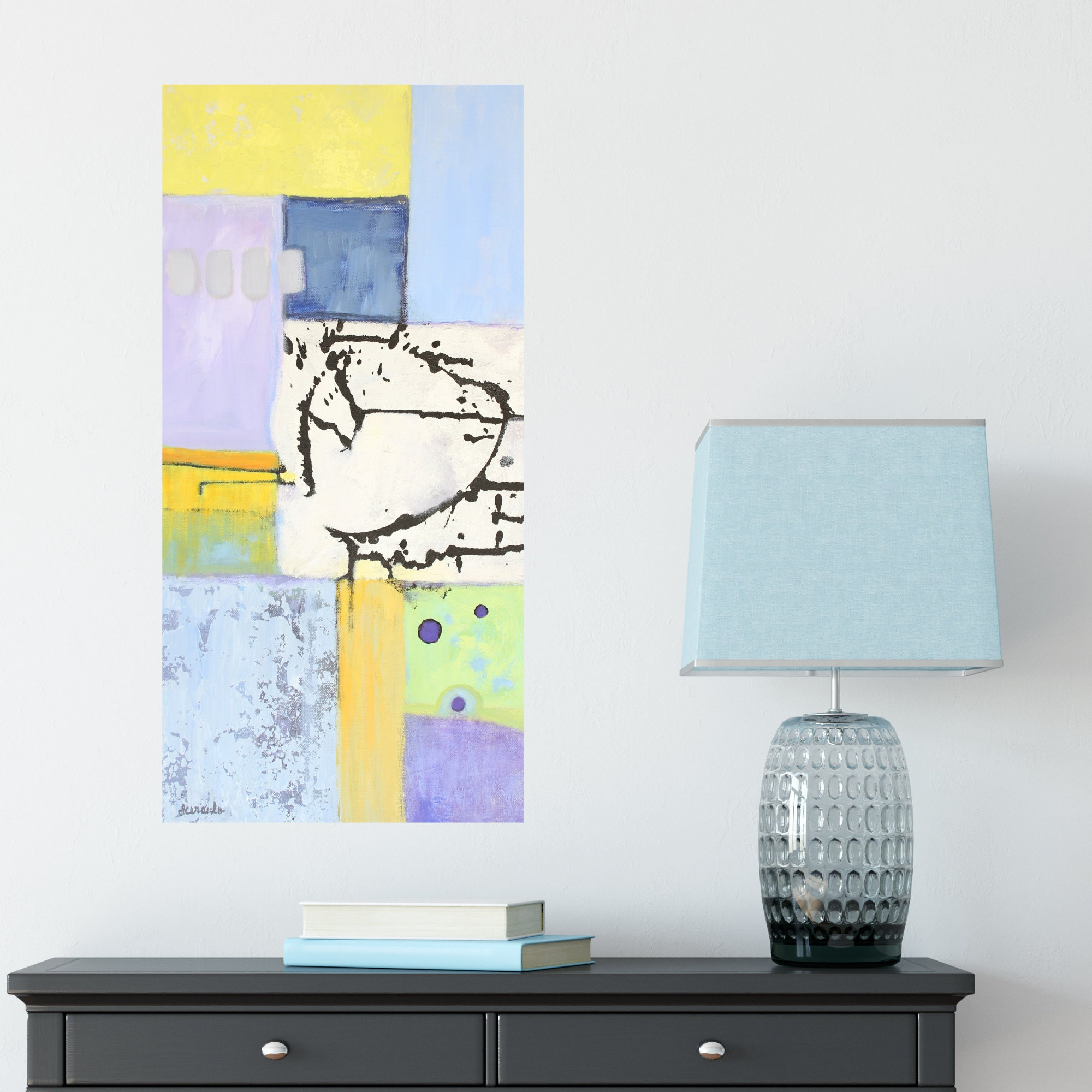 Abstract bright colors 12x24 original painting narrow wall art on gallery canvas divided crossroads by donna ceraulo