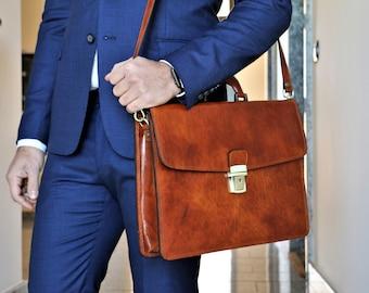 Leather Briefcase,Brown Leather Briefcase, Men Leather Briefcase, Laptop Bag, Leather bag, Gift for Him, Shoulder Bag, Men Briefcase