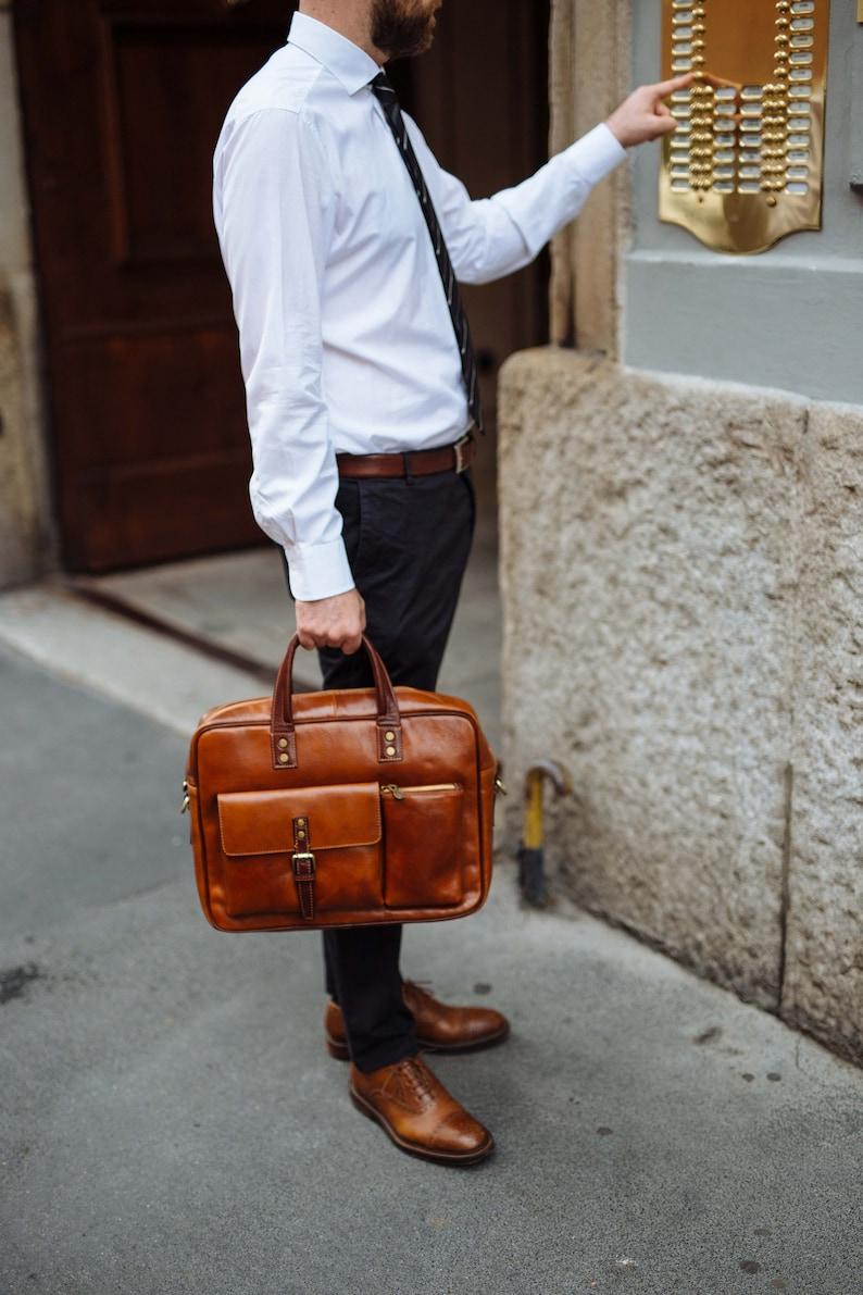 Leather Briefcase,Bicolor Leather Briefcase Gift for Him Leather bag Men Briefcase Shoulder Bag Men Leather Briefcase Laptop Bag