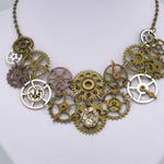Steampunk Gear Necklace with Upcycled Watch Parts - Jewelry Bib Necklace Brass Jewelry Costume Necklace Sci Fi Modern Cosplay