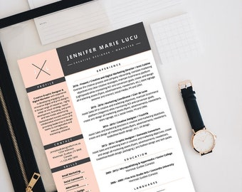 creative resume template microsoft word modern professional chic style cv troubadour theme instant download
