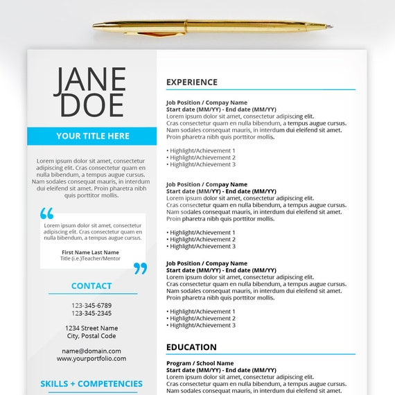 My First Resume   Creative Resume Template   Microsoft Word   Modern,  Professional, Graduate, Student CV   1 Page   Instant Download
