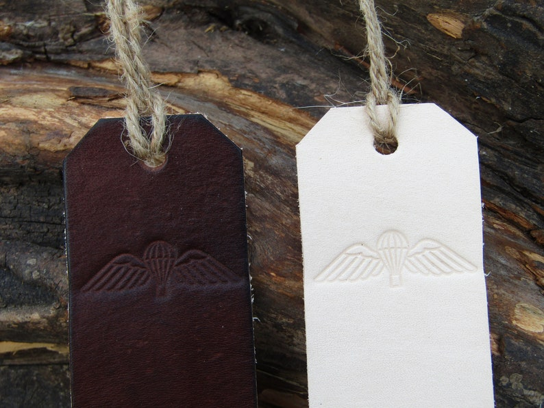 Handmade leather bookmark with British military para wings design