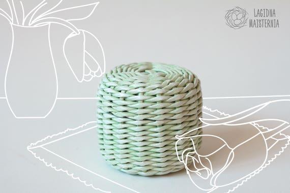 Petit Panier Avec Couvercle Pastel Vert Boite En Osier Panier