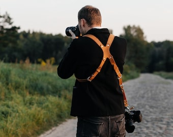 Leather Camera Harness, Dual Cameras Strap, Two Cameras Harness, Multi Cameras Strap, Cameras Harness, Cameras Straps, Photographer Straps