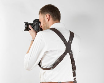 Leather Camera Harness, Two Cameras Strap, Dual Cameras Strap, Two Cameras Harness, Dual DSLR Harness, Dual DSLR Strap, Photographer Straps