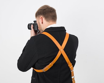 Camera Strap Leather, Camera Harness, Dual Camera Strap, Two Cameras Harness, Photographer Harness, Cameras Harness, Ready To Ship