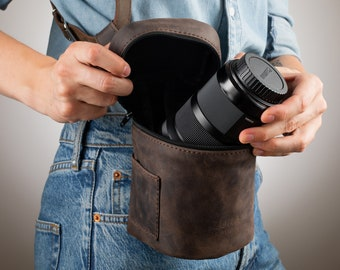 Lens Pouch, Lens Case, Leather Lens Pouch, Tube for Photographer Lens, Leather Lens Case, Lens Bag, Leather Lens Holder