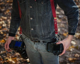 RESERVED FOR MANUEL_Dual Cameras Strap, Multi Cameras Straps, Two Cameras Harness, Cameras Harness, Two Cameras Strap, Photographer Straps
