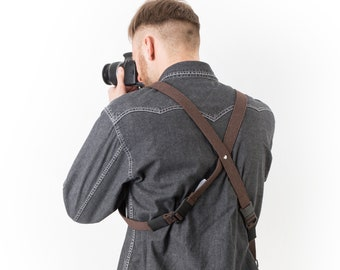 Handmade Camera Strap, Vegan Friendly Camera Strap, Dual Cameras Strap, Two Cameras Harness, Multi Cameras Strap Camera Swag, Camera Harness