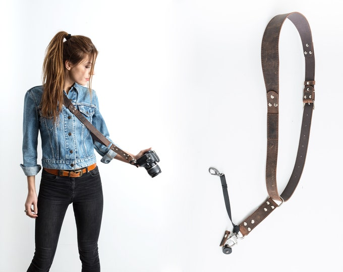 Featured listing image: Camera Strap, Photographer Leather Camera Strap, Custom Camera Strap, Canon Camera Strap, Nikon Camera Strap, Sling Camera Strap