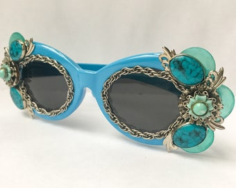e6e5bb3731 Turquoise   Silver Clout Goggles - Blue Clout Glasses Embellished with  Turquoise and Silver Flower and Chain for Glam Everyday Sunglasses