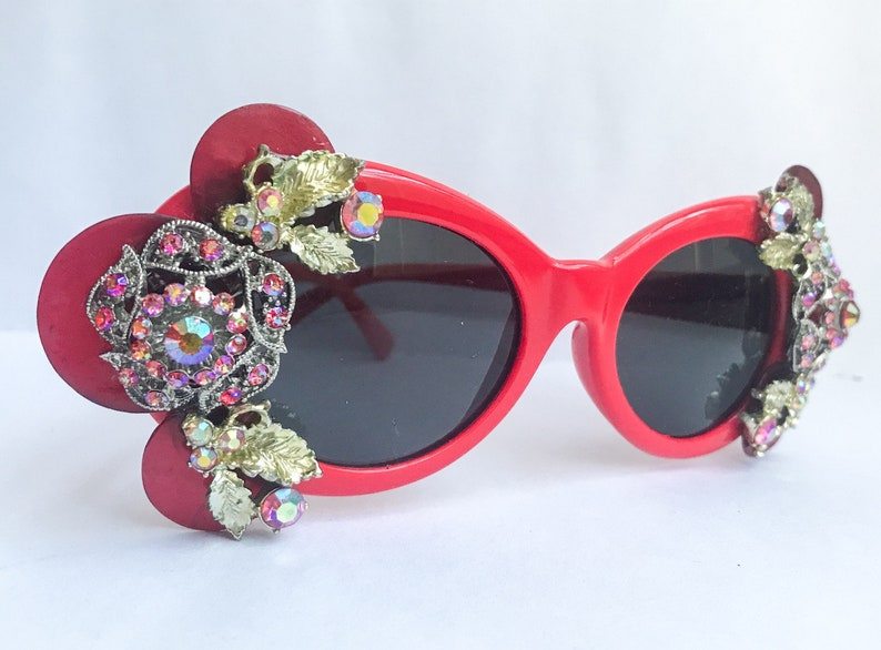 163c7b99008b Red Rhinestone Clout Goggles Red Clout Glasses Embellished | Etsy