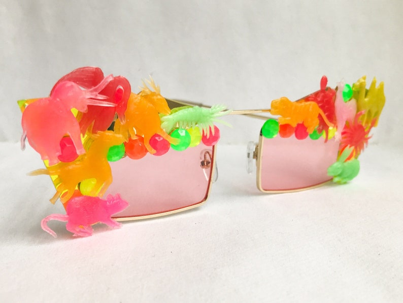 Rainbow Animal Sunglasses - Square Sunglasses Embellished w Vintage Animal Friends & Rhinestones - Rainbow Sunglasses or Pink Sunglasses