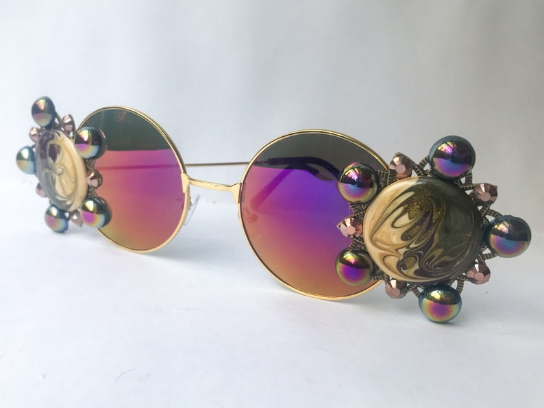 00236ec8b Purple Sunglasses Round Sunglasses Embellished with Vintage   Etsy