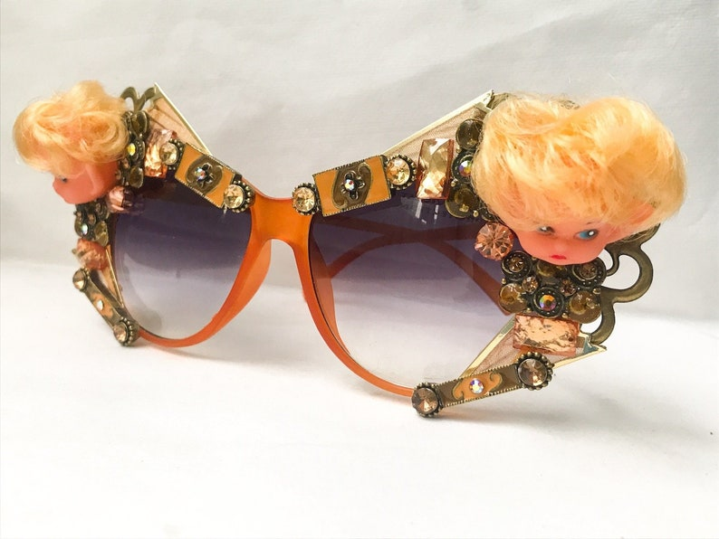 cf61f4579cc Rhinestone Sunglasses Embellished with Elf Doll Heads - Orange Sunglasses  Handcrafted with Doll Parts