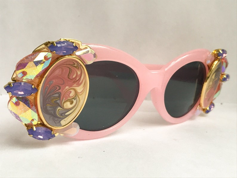 a91f2b127136 Pink Clout Goggles Rhinestone Clout Glasses Embellished with | Etsy