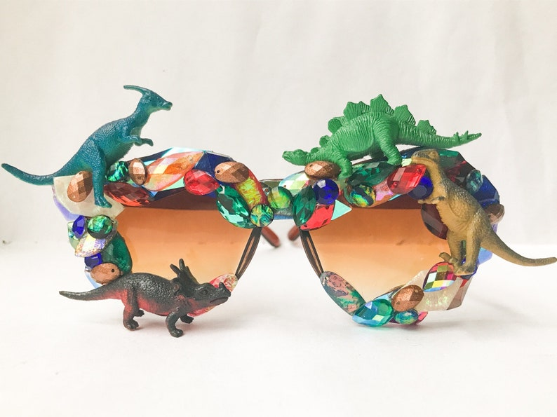 Dinosaur Sunglasses - Rhinestones Sunglasses Embellished w Toy Dinosaurs - Brown Sunglasses for Funky Sunglasses or Dinosaur Accessories