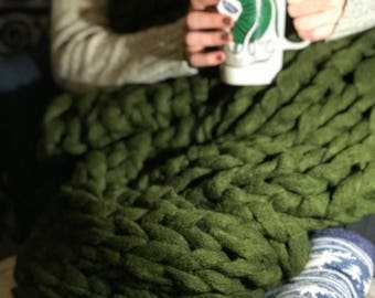 3' by 7' Hand-Knit Chunky Throw Blanket, Couture Jazz Olive