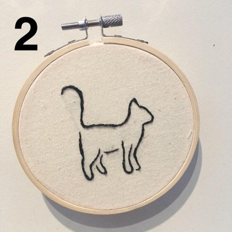 Cat outline 4 hoop Single or Sets Wall Hanging Hand Embroidery Hoop Art