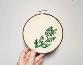 """Delicate Leaves 6"""" hoop - Embroidery Hoop Art - Wall Hanging"""