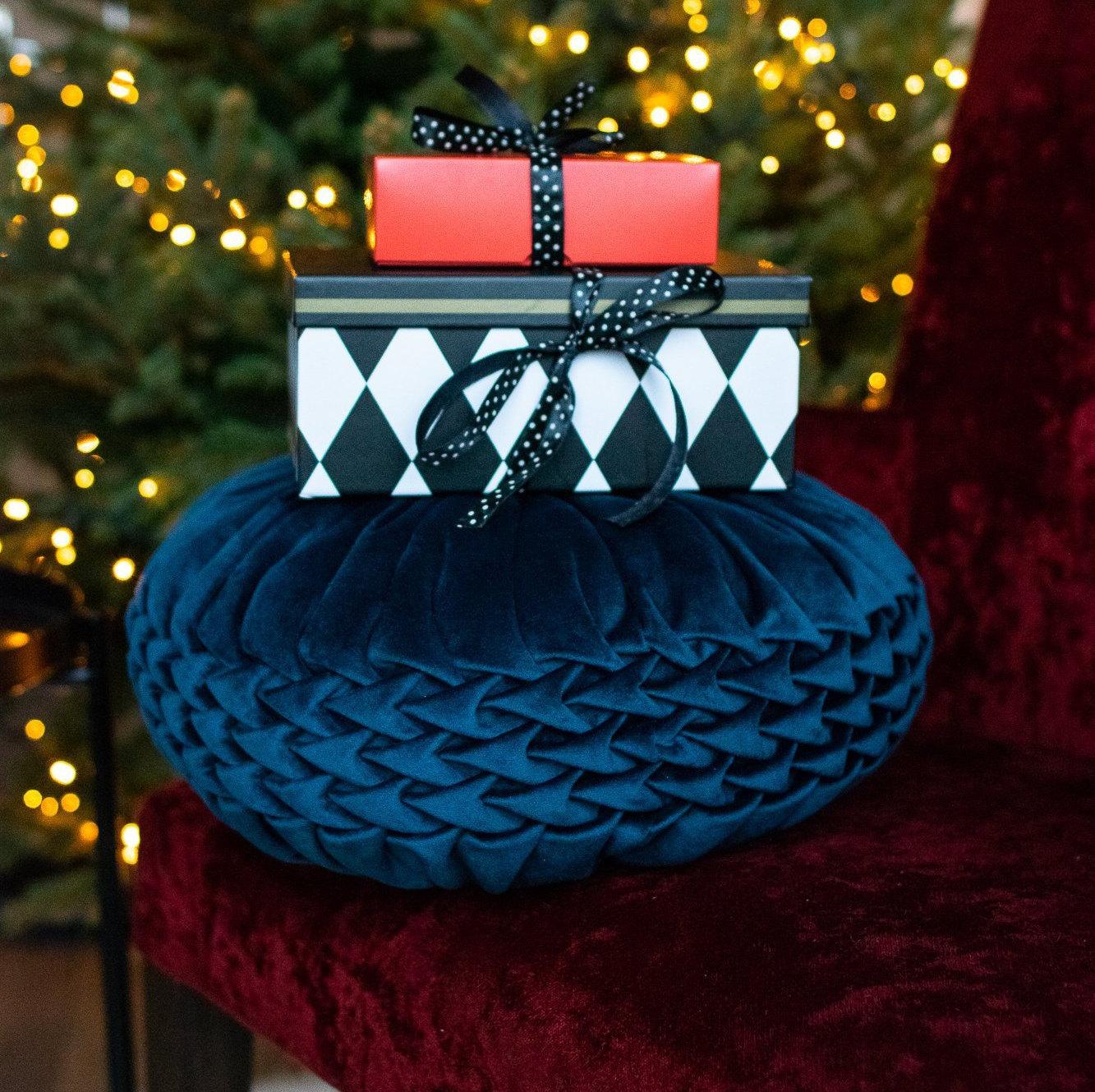 Round cushion Decorative pillow Blue handmade round | Etsy