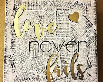 Love Never Fails Bible Verse  Canvas Art -Handmade- 12x12 (Available in Spanish)