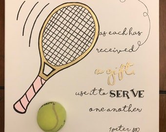 Kids Tennis Bible Verse  Canvas Art -Handmade- 12x12 (Available in Spanish)