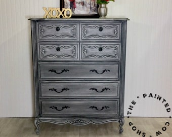 Vintage French Provincial Gray hand painted 5 drawer tall dresser large dresser Armoire