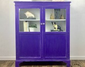 Bookcase with Doors Custom Painted Antique Curio Cabinet Vintage Glass Cabinet bookcase with Glass doors