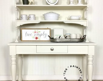 Farmhouse Hutch/desk With Storage:Craft Storage/white Hutch/playroom Storage