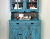 SOLD Farmhouse distressed Hutch Blue China Cabinet Coffee Station