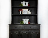 Sold Farmhouse 2 pc Black Hutch, Black China Cabinet, fixer upper Style hutch, open shelves, shipping not included