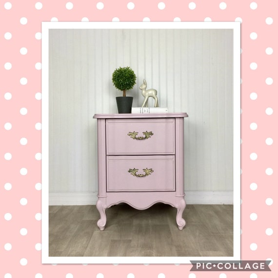French Provincial Nightstand Pink Side Table Girls Bedroom | Etsy