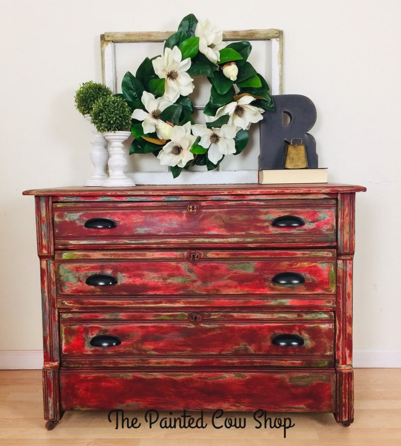 Antique Red Farmhouse Dresser - Vintage Chest of Drawers - Entryway Table