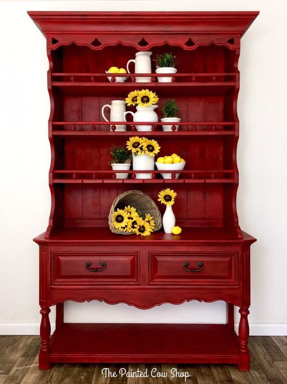 Bon SOLD Farmhouse Hutch/desk With Hutch/Modern Farmhouse Cabinet /coffee  Station/Cupboard/Red China Cabinet Hutch