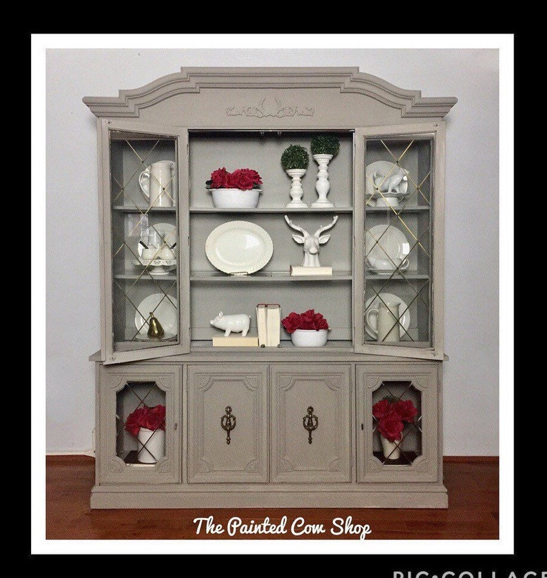 Farmhouse Chic Hutch/ Modern China Cabinet/ Vintage Display Cabinet