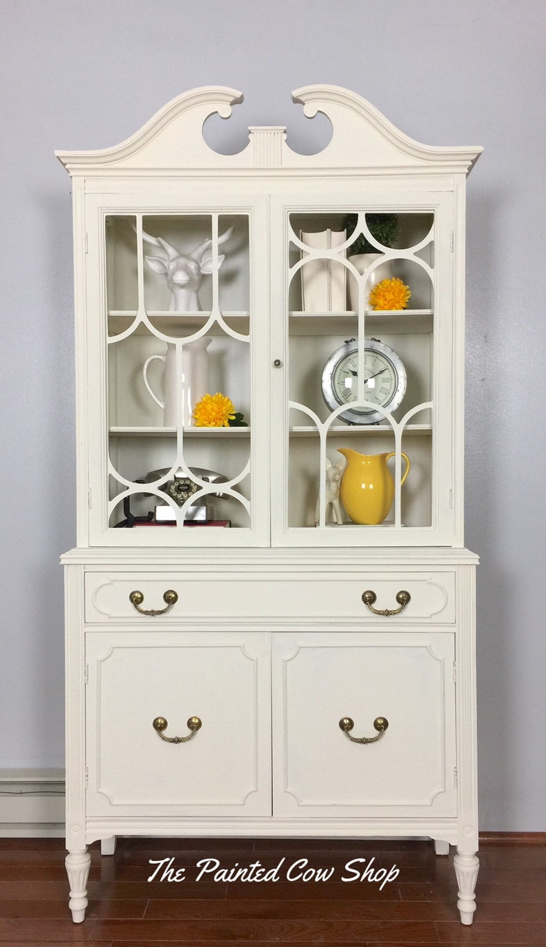 Exceptionnel China Cabinet With Glass Doors / Vintage Hutch / Distressed Furniture  /bookcase