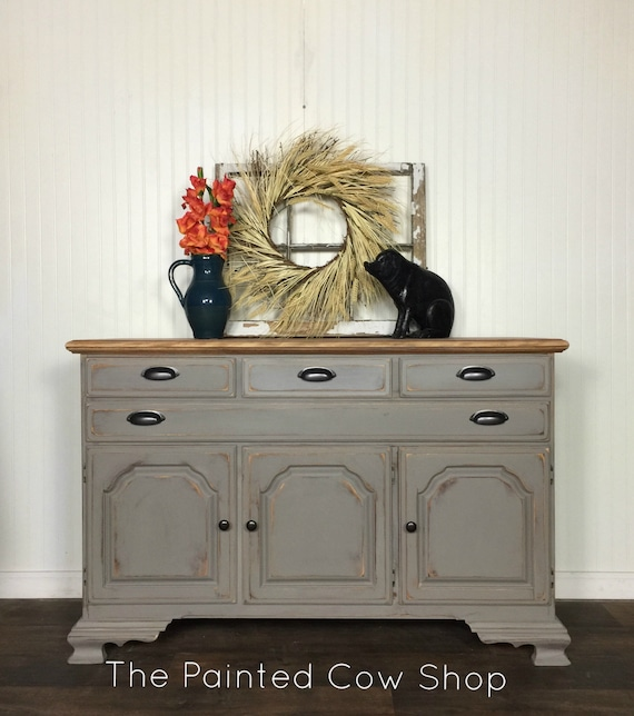 Farmhouse Gray Buffet Sideboard , Dining room , Living Room , Storage