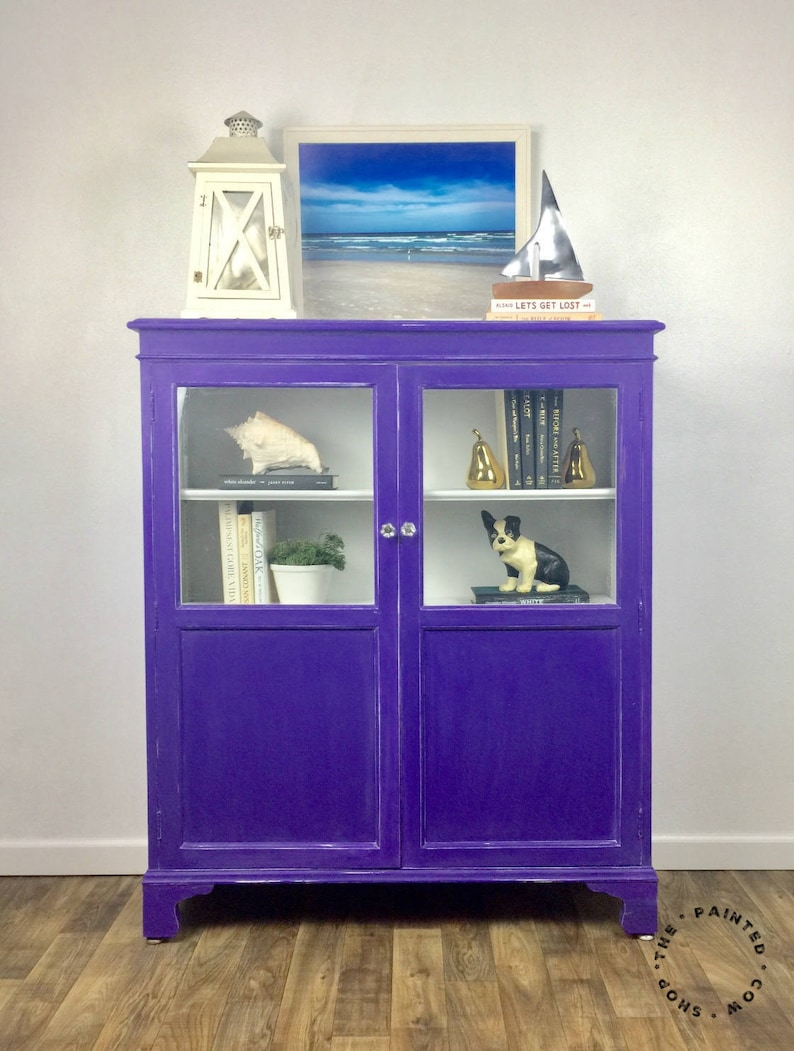 Sold Bookcase With Doors Custom Painted Antique Curio Cabinet Vintage Glass Cabinet Bookcase With Glass Doors