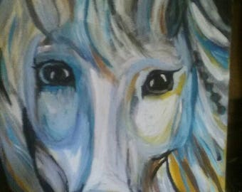 Acrylic horse painting on stretched canvas