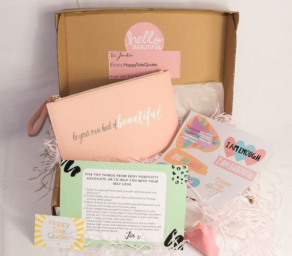 HappyBeautyBox - Body Positive Box, Self Care Gift Box, Hug In A Box, Care Package For Her