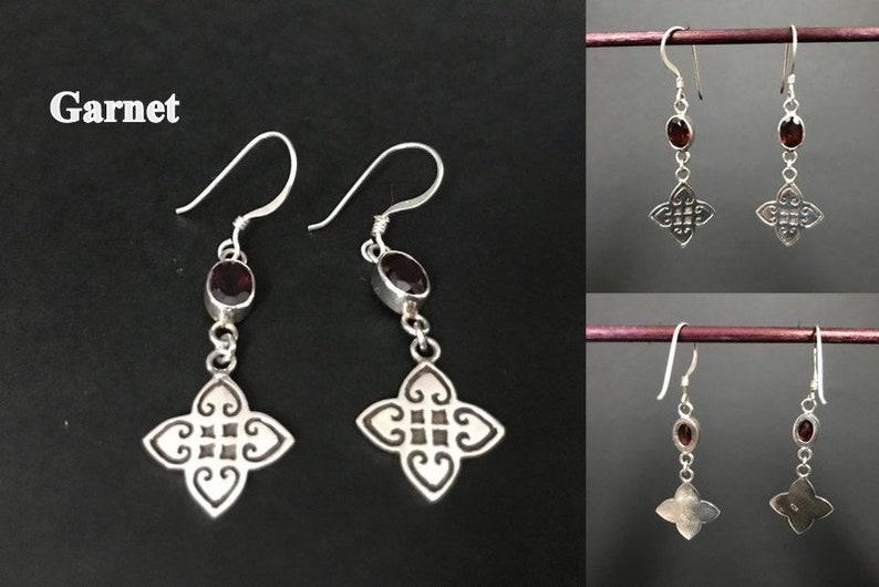 Handmade Close Net Design Amethyst Citrine Garnet Earrings 925 Sterling Silver Jewelry Style Fashion Earring Jewellery Woman Gift Female