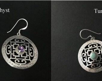 Handmade Mandala with Amethyst/Turquoise Silver Earrings, 925 Sterling Silver Earrings, Dangling Earrings, Gift for her