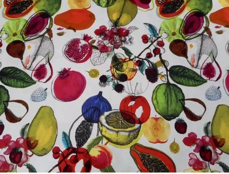 Craft Project 4 HALF Yard of 100/% Cotton Sateen in Designers Guild Manaos Exotic Fruits and HALF Yard of Striped Fabric in Black and White