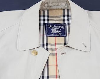 BURBERRYS Rain Coat Color White Ice Tartan Interior
