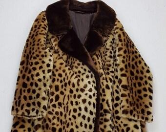 taille 80 46 PRINT pourprée Fashion Vintage Coat d'ANIMAL Fourrure années wCAq6t