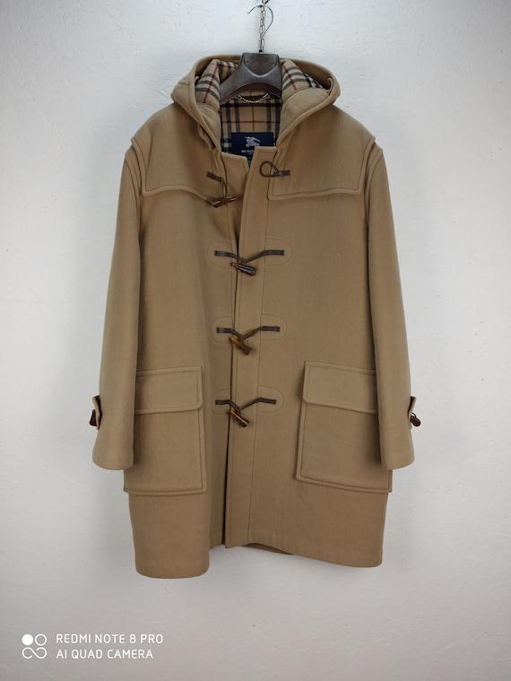 90's Vintage BURBERRY MONTGOMERY, Beige Wool Duffl