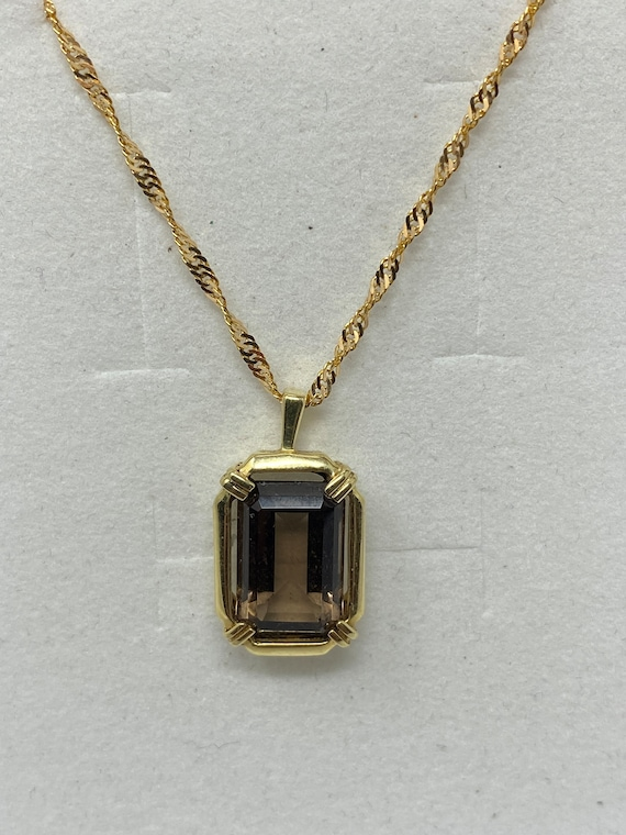 Estate 14Kt Yellow Gold and Topaz Pendant on 18Kt