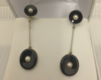 Antique Estate Victorian 14Kt WG Onyx & Pearl Screw-back Earrings
